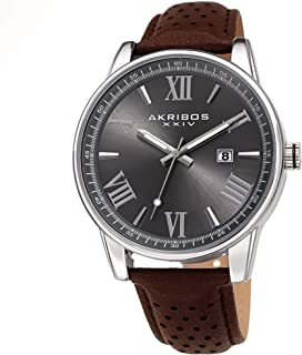 Father's Day Gift - Akribos Designer Men's Watch – Stylish Genuine Leather or Stainless Steel Bracelet Wristwatch