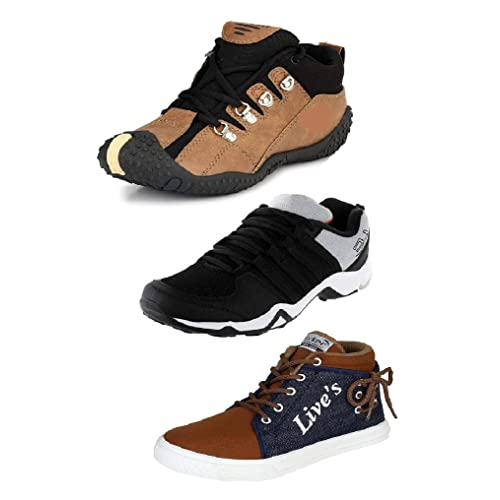 Tempo Men's Combo Pack of 2 Outdoor Shoes & 1 Sneakers Shoes