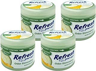 Refresh Scented Gel Can's 4.5 oz Car, Home & Office Air Freshener, Cucumber Melon (Pack of 4)
