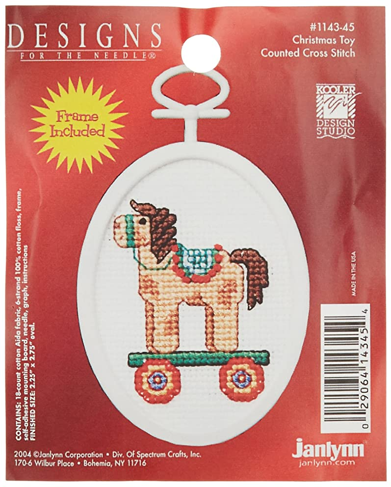 Janlynn 1143-45 18 Count Mini Counted Cross Stitch Kit, 2.75-Inch, Oval, Christmas Toy