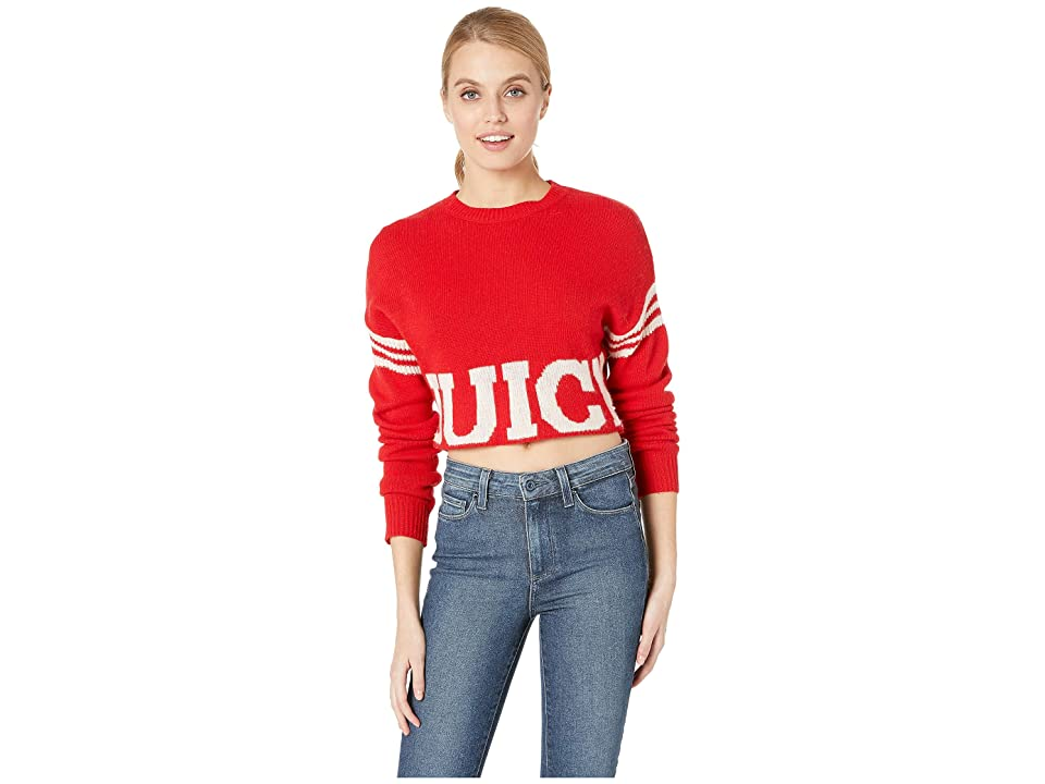Juicy Couture Collegiate Logo Sweater with Stripe (True Red) Women
