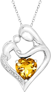 Gemstone Mother & Child Heart Pendant Necklace with Diamond in Sterling Silver, 18