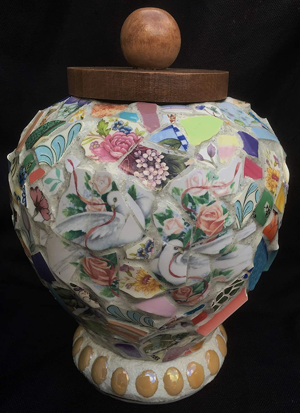 Dove Cremation Memorial Urn Mosaic Vase