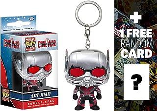 Ant-Man: Pocket POP! x Captain America Civil War Mini-Bobble Head Figure Keychain + 1 FREE Official Marvel Trading Card Bundle (095154)