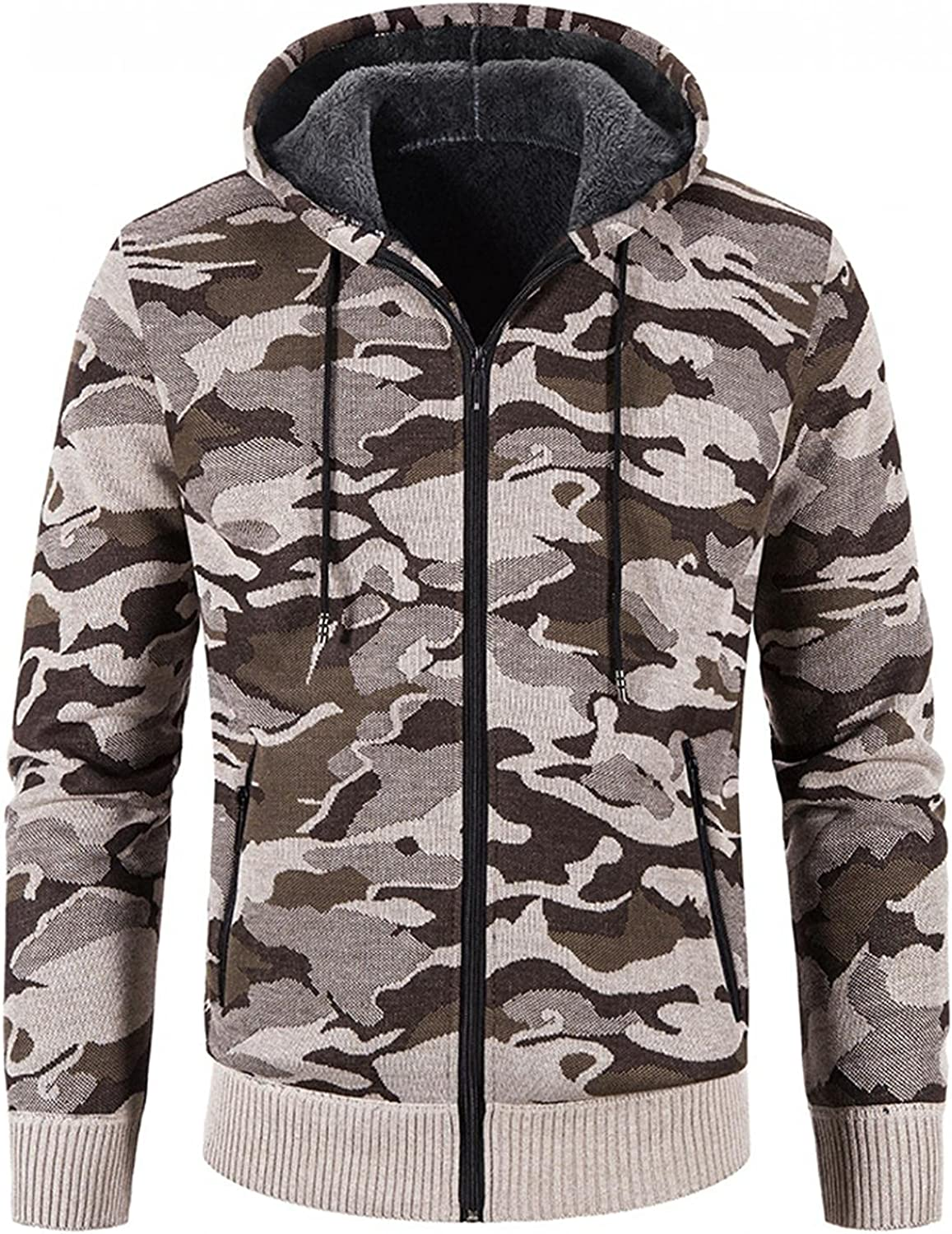 Aayomet Men's Hoodies Cardigan Winter Warm Camouflage Zip Long Sleeve Casual Hooded Pullover Tops Blouses Coat with Pockets