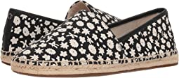 코치 플로럴 에스파드류 블랙/초크 COACH Flat Espadrille,Black/Chalk Floral Canvas