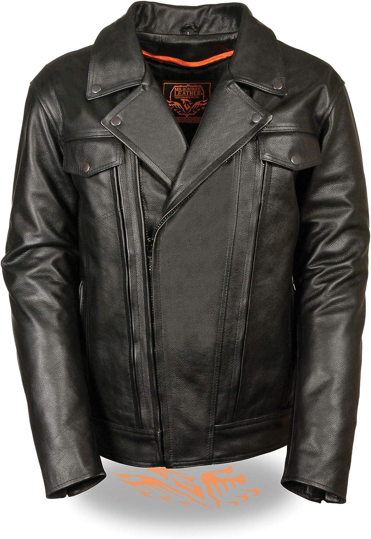 Mens High End Leather Utility Pocket Vented Cruiser Jacket Black