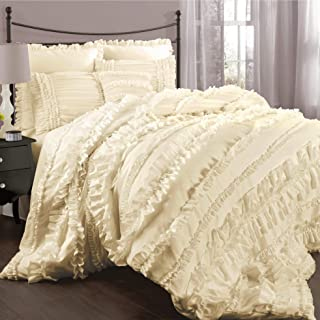 Lush Decor Belle Ivory Comforter Ruffled Shabby Chic 4 Piece Set with Bed Skirt and 2 Pillow Shams, Full/Queen,