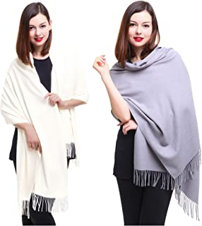 REEMONDE Large Extra Soft Cashmere Blend Women Pashmina Shawl Wrap Stole Scarf (2 Pack - Cream & Grey)