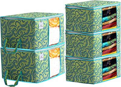 Kuber Industries Metallic Printed Non Woven 3 Pieces Saree Cover and 2 Pieces Underbed Storage Bag, Cloth Organizer for Storage, Blanket Cover Combo Set (Green) -CTKTC38525