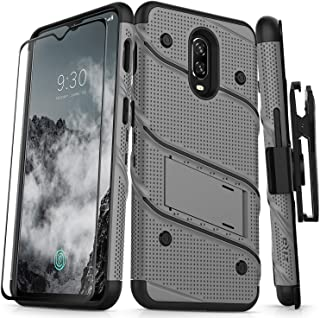 ZIZO Bolt Series OnePlus 6T Case Military Grade Drop Tested with Full Glass Screen Protector Holster and Kickstand MetalGray Black