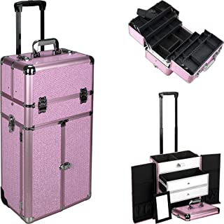 Justcase I3466 2 In 1 Professional Rolling Trolley Wheel Makeup Artist Cosmetic Nail Case Organizer Storage Extendable Trays Drawers Dividers, Krystal Pink