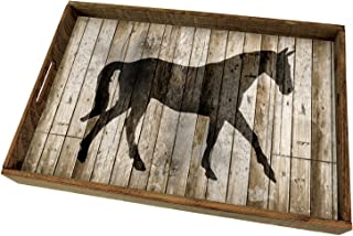 CounterArt 18-Inch Wooden Butler-Style Tray, Barnwood Horse