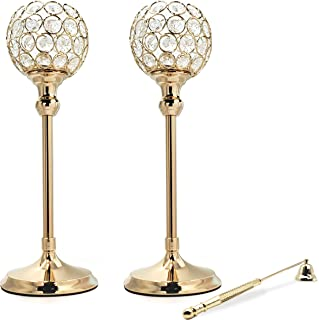LQANER Gold Crystal Candle Holders - Set of 2, with Candle Snuffer - Ornate centerpieces for Tables - for Use with Candlesticks, Tealight, Voltive and Flameless Candles [Gold, 13 inches]