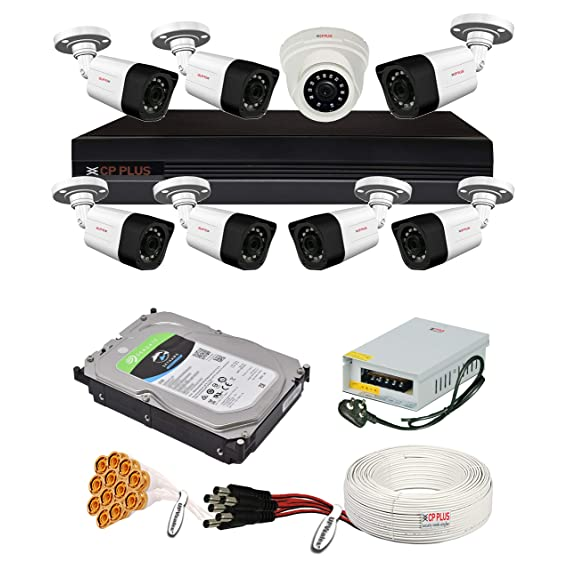CP Plus 2.4MP, H.265+, 2TB Storage, 8 Camera Combo Kit with (8Ch DVR, 1 Dome 7 Bullet Cameras, 2TB HDD, Power Supply, 90Mtr Cable, Audio Mic and Connectors) 2.4 MegaPixel CCTV Security Camera Set