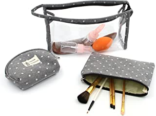 HOYOFO Portable Cosmetic Bags Set of 3 Different Sizes Makeup and Toiletry Pouch Purse Bag for Travel or Daily Use, Gray