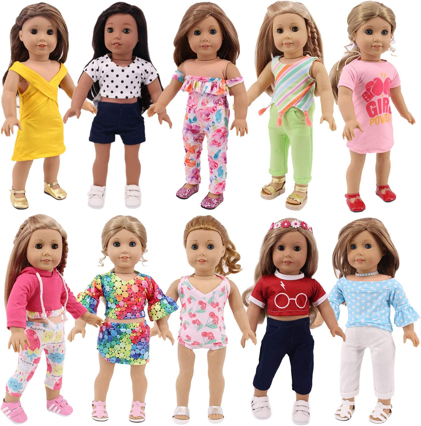 ZWSISU At the price 10 Sets of Elegant Girl Doll Clothing Dresses Clothes Outfits Fit