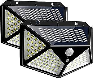 TMANGO Solar Lights Outdoor [100 LED/3 Working Mode], Solar Security Lights Motion Sensor Lights Wireless IP65 Waterproof Solar Powered for Garden Fence Patio Garage Deck (2 Pack)
