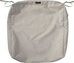 "Classic Accessories Ravenna Square Patio Seat Cushion Slip Cover - Durable Outdoor Cushion, Mushroom, 25""L x 25""W x 5""Thick"