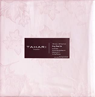 Tahari 4 Pc Cotton Sheet Set Solid Light Pale Shade of Pink with a Jacquard Floral Weave 300 Thread Count 100% Cotton Luxury - Primrose, Ash (King)