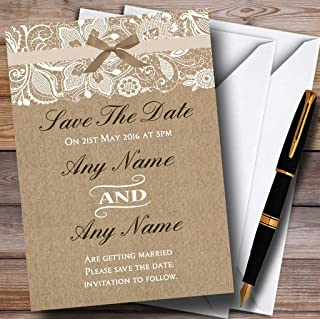 Vintage Burlap & Lace Personalized Wedding Save The Date Cards