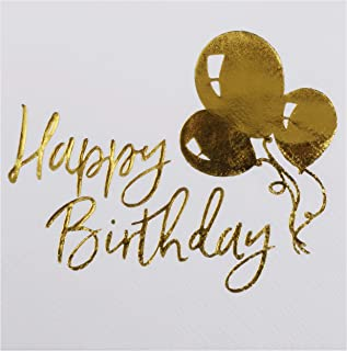 100-Pack 'Happy Birthday' White & Gold Foil Cocktail Napkins by DesignReady   3-Ply 5x5 Inches Disposable Paper Beverage Napkins