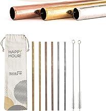 HomeUp Premium Design Edelstahl Strohhalme, Extra breit für Smoothies & Shakes, 6er Set Wiederverwendbare Trinkhalme (8mm)...