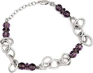 Purple Amethyst 7.20 Ct Ball 925 Sterling Silver Beaded Bracelet Mother's Day Presents By Orchid Jewelry