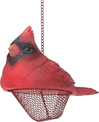 Transpac Rosy Red Cardinal 10.5 x 7 Resin Decorative Outdoor Hanging Bird Feeder