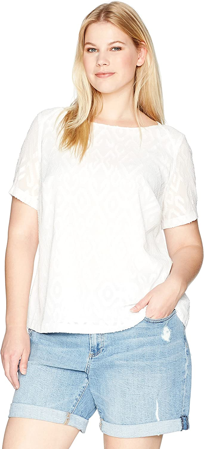 Kasper Women's Plus Size Short Sleeve Dashed Texture Blouse