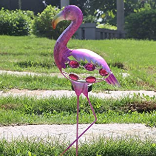 EH-GARDEN Family Metal Flamingo LED Solar Powered Lights Yard Ornaments, Bright Pink Flamingos for Garden Decoration