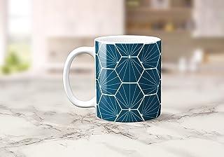 Azul pavo real con diseño geométrico hexagonal blanco Taza de té o café 11 oz