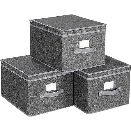 SONGMICS Lot de 3 Boîtes de Rangement avec Couvercle, Cube en Tissu avec Porte-étiquettes, Organiseur de Rangement, 40 x 30 x 25 cm Gris fumé RYFB03G