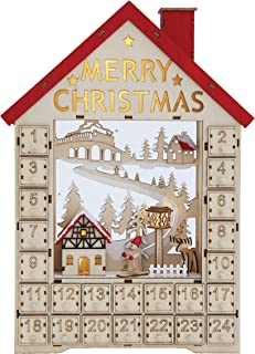 Creative Co-op Wood House Shaped Numbered Boxes & LED Light Advent Calendar, Multicolor