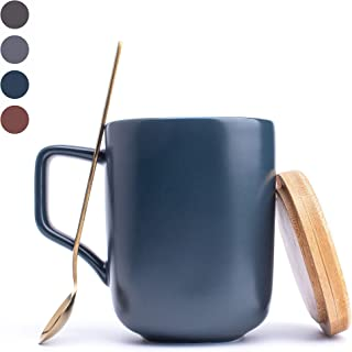MACHUMA 14OZ Ceramic Square Mug with Lid and Spoon Good For Heat Preservation, Square Handle for a Comfortable Hold.