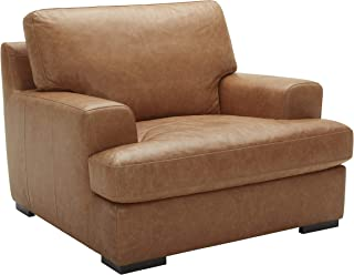 Stone & Beam Lauren Down-Filled Oversized Leather Living Room Accent Armchair with Hardwood Frame, 46