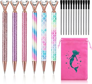 19 Pieces Diamond Ballpoint Pen Set, Includes 6 Rhinestones Gel Ink Pens Bling Diamond Writing Pen with 12 Black Ink Refil...