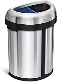 simplehuman 66 Liter / 17.4 Gallon Dual Compartment Recycler Semi-Round Open Commercial Trash Can, Heavy-Gauge Brushed Stainless Steel