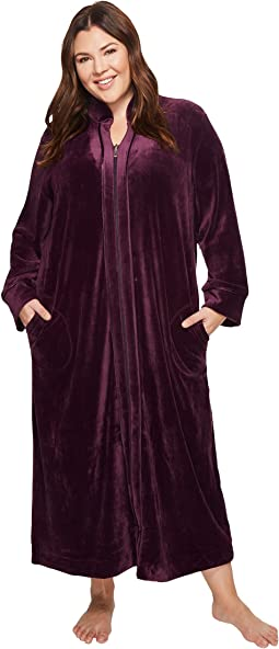 Carole Hochman - Plus Size Velvet Long Zip Robe