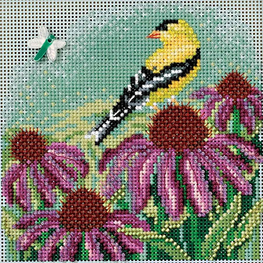 Goldfinch Cross Stitch Kit Mill Hill 2017 Buttons Beads Spring MH141712