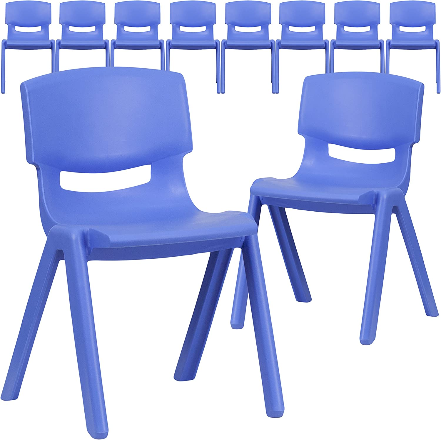 Flash Furniture 10 Pk. Blue Plastic Stackable School Chair with 13.25'' Seat Height : Office Products