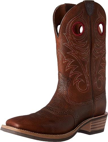 Ariat - Chaussures Western Western Cowboy de Travail à Taille Large héritage, 47 W EU, marron Oiled Rowdy