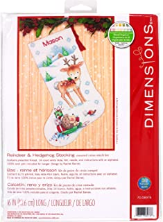 Dimensions 70-08978 Cross Stitch 'Reindeer and Hedgehog' Personalized Christmas Stocking Kit, White 14 Count Aida, 16''