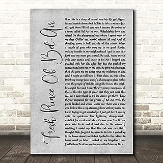 Fresh Prince of Bel-Air Rustic Script Grey Song Lyric Wall Art Poster Gift Present Print