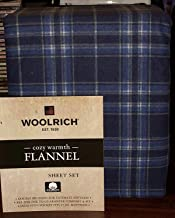 Woolrich King Size Cotton Flannel Sheet Set • Blue & Navy Blue Plaid Pattern