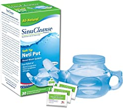 SinuCleanse Soft Tip Neti-Pot Nasal Wash System - Includes 30 All, Natural, Pre-Mixed Buffered Saline Packets - Relieves N...