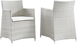 Modway Junction Wicker Rattan Outdoor Patio Two Dining Arm Chairs with Cushions in Gray White