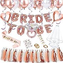 Yojoloin Kit de globos de oro rosa para la decoración de la boda 65Pcs Incluyendo velo para la novia Etiqueta engomada del tatuaje Correa de hombro y globos de letras Globos de confeti de oro rosa
