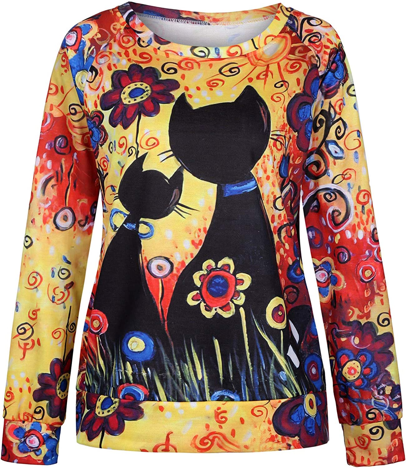 Hotkey Womens Sweatshirts Floral Cute Cat Printed Womens Fall Clothes Long Sleeve O-Neck Tops Pullover Casual Jumper Blouse