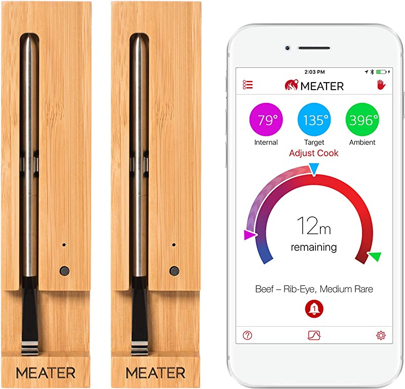 MEATER 2 Unit Bundle Save 9 The Original True Wireless Smart Meat Thermometer For The Oven Grill Kitchen BBQ Smoker Rotisserie With Bluetooth And WiFi Digital Connectivity